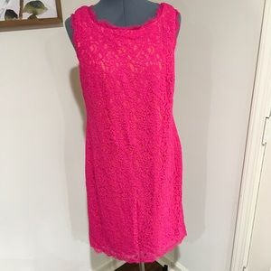 Adrianna Papell Pink Lace Dress